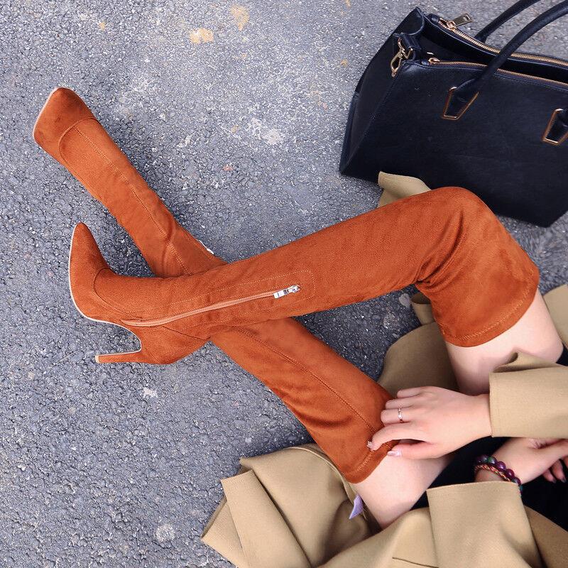 Overkneestiefel Damenschuhe Mode Neu High Heels Stiletto Gr32-43 Einfach Spitzer