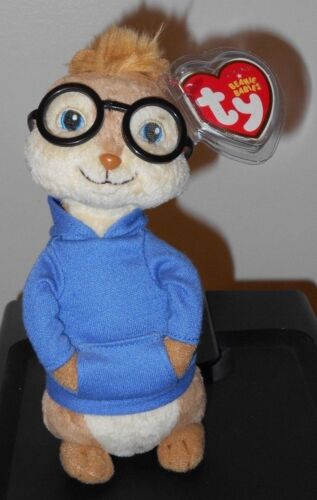7 Inch Ty Beanie Baby ~ SIMON Chipmunk from Alvin and the Chipmunks NEW MWMT