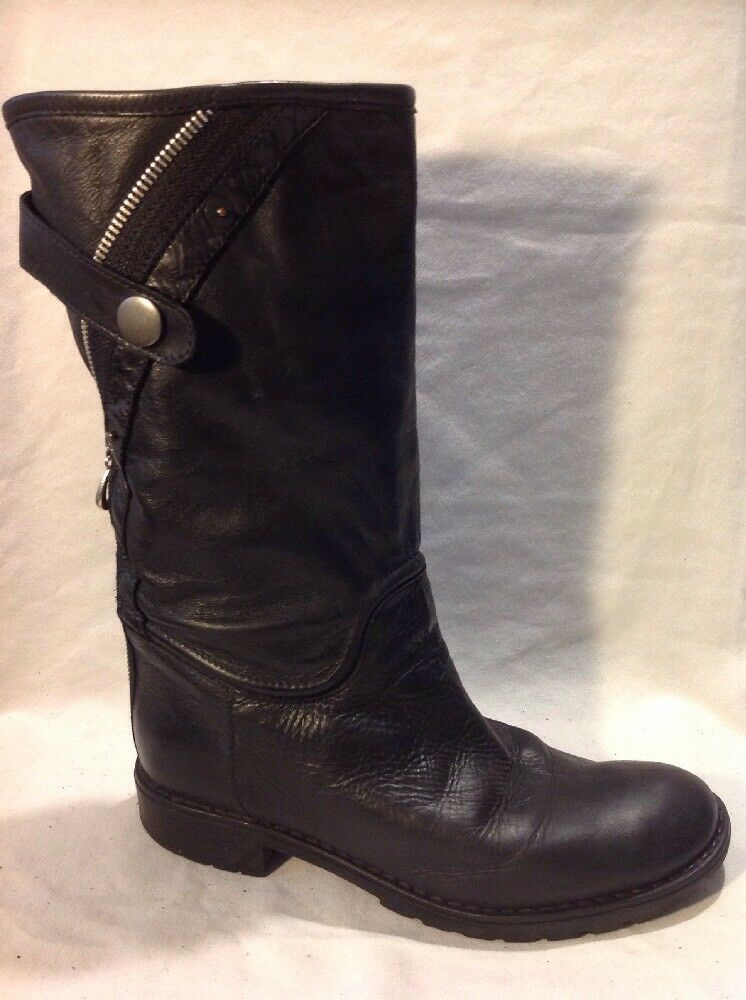 Ladies Black Mid Calf Leather Boots Size 36
