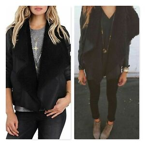 BILLABONG | Womens Black Faux Sherpa & Faux Leather Jacket [ Size AU 8 or US 4 ]