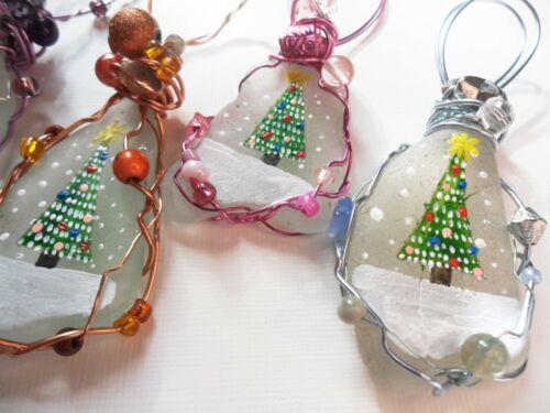 Hand painted sea glass Christmas tree decorations Fairy lights set of 4