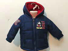 Disney Store Baby Boy Zip-Up Fleece Jacket Hooded Mickey Mouse 12-18 Months