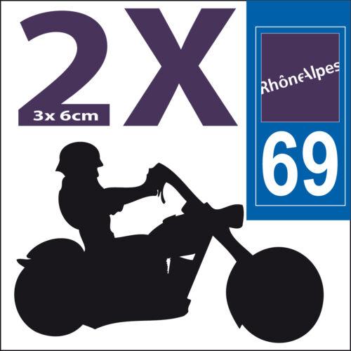 2 stickers autocollants style plaque immatriculation moto Département  69