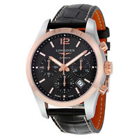Longines Conquest Classic Black Dial Chronograph Automatic Mens Watch