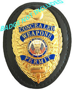 Police-Security-Leather-Recessed-Shield-Badge-Holder-with-Neck-Chain-Belt-Clip
