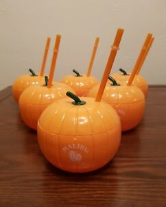6 x Malibu Reusable thick Plastic Pumpkin drinking cups with drinking straws new 1ZorlUeI-09114906-838286513