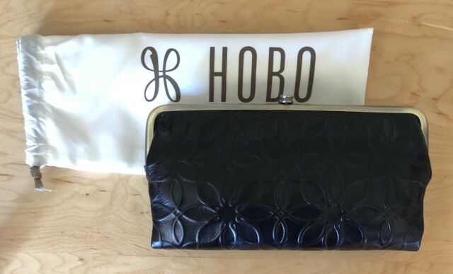 Nwt Women/'s Hobo Leather Double Frame Clutch Wallet Embossed Black Lauren