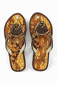Batik-Fabric-Flat-Women-Shoes-Brown-With-Glittering-Beads