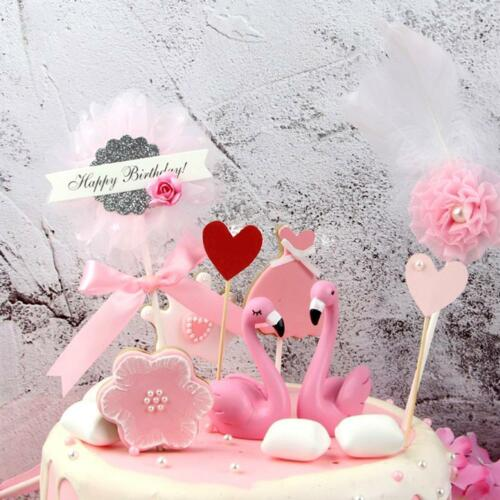 Cute beautiful flower birthday wedding cake topper insert decor gift UK