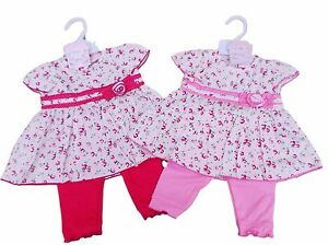 BNWT Baby girls summer pink and white Love heart top /& floral rose leggings