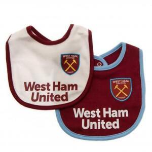 West-Ham-United-Fc-2-Pack-Bebe-Bavoirs-equipe-de-football-supporter-Baby-Shower