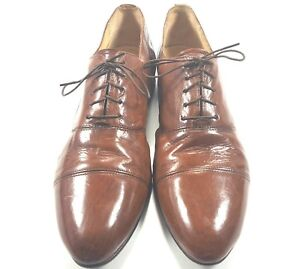 freeman men's brown leather dress shoes sz105 narrow