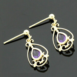 Image Is Loading 9ct Yellow Gold Victorian Style Genuine Amethyst Drop