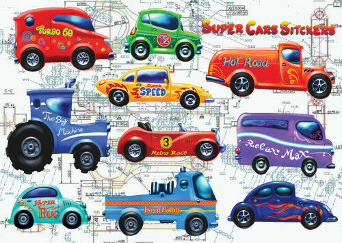 *Zauberhafte*Sticker/&Postkarte*Geburtstag*Fahrzeuge*Autos*Traktor*Lastwagen*A6*