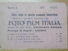 biglietto Stabilimento balneare PRINCIPE DI NAPOLI SALERNO Foto FILM ITALIA del