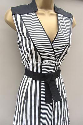 New KAREN MILLEN BNWT £160 Cotton Stripe Cocktail Party Evening Work Shirt Dress