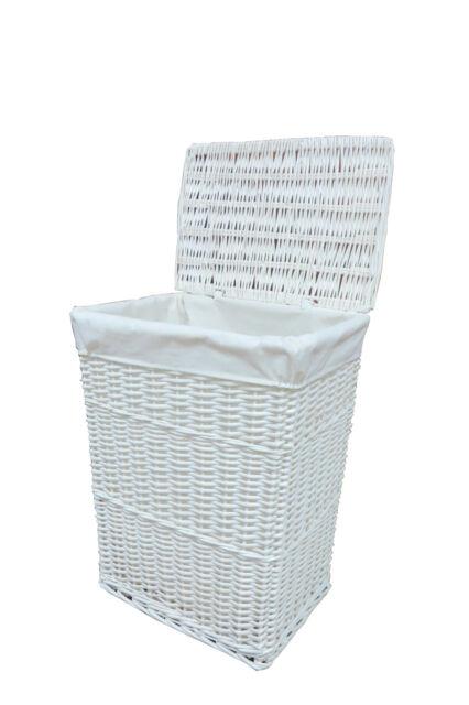 Laundry Basket Bin White Medium Wicker With Liner Insert Handles