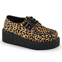Demonia Creeper 112 Unisex Leopard Fur Piping Detail Triple Buckled Shoes