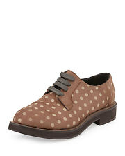 $1695 NIB BRUNELLO CUCINELLI POLKA-DOT CALF HAIR OXFORD BROUGE sz 39.5