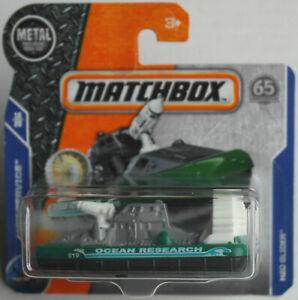 Analytique Matchbox H2o Glider Hovercraft Vert/gris Ocean Research Nouveau/neuf Dans Sa Boîte Mattel Mbx-afficher Le Titre D'origine