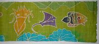 Thai Hand Woven Hemp Batik Fabric Animals Fish Birds 16 Ft. Long 13-1/2 Wide