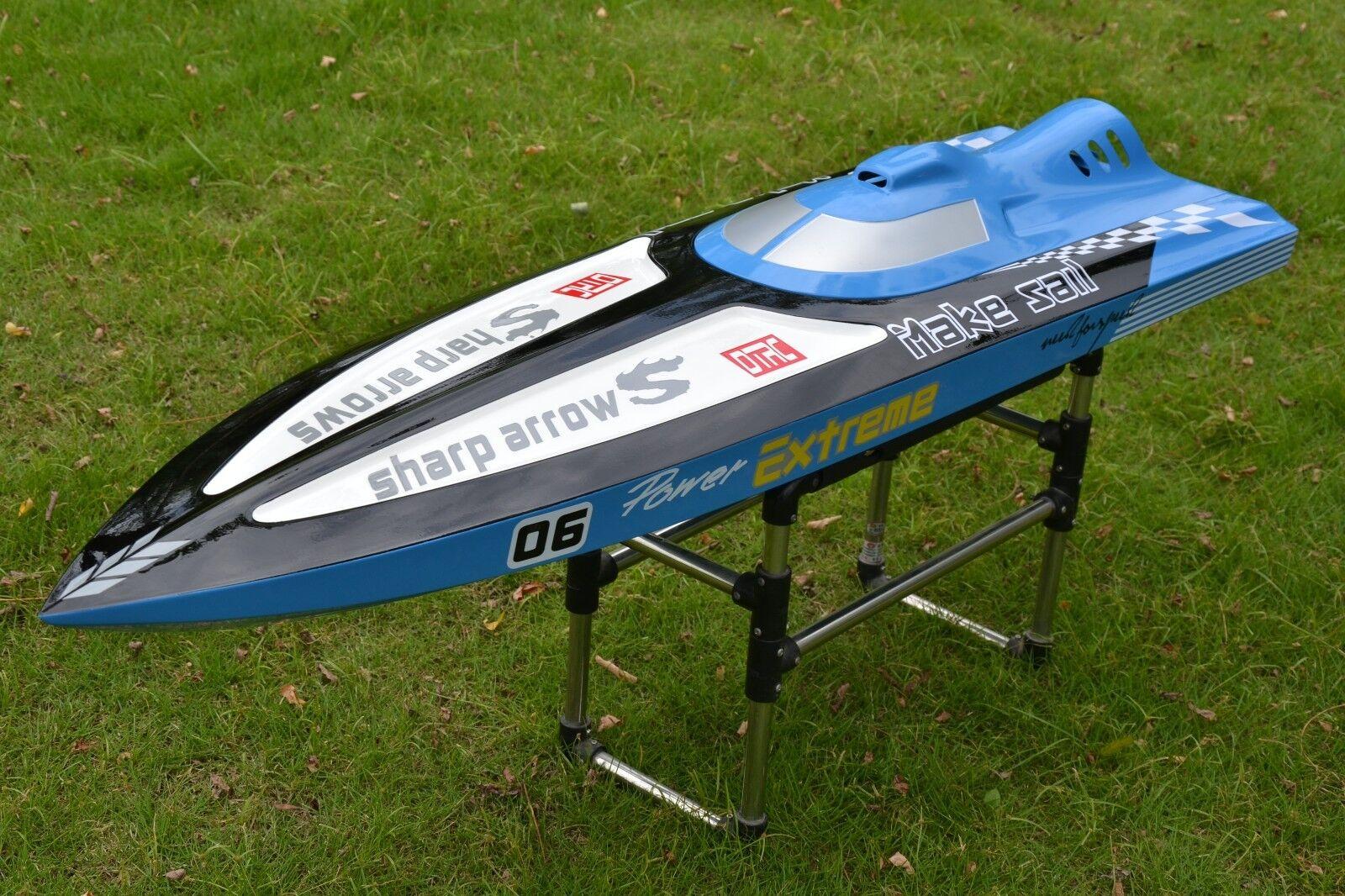 FiberGlass G30C 30CC Engine Gas RC Racing Speed Boat Monohull ARTR Deep bluee