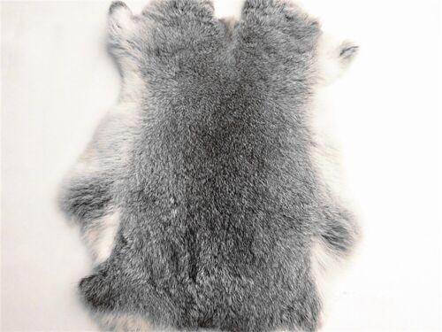 2x Soft Natural Tanned Gray Rabbit Skin Pelt Real Fur Craft Decretive 8-14/'/'