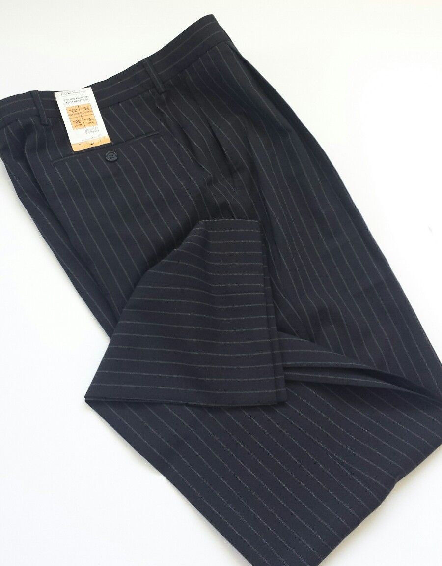 Men's Marks&Spencer soft wool blend trousers navy color size 30 33 BNWT