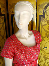 Vintage 1960s Fancy Pink & Gold Brocade Dress With Button Detail SzS