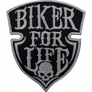 Biker-For-Life-Patch-Iron-Sew-On-Embroidered-Badge-Motorbike-Motorcycle-Chopper