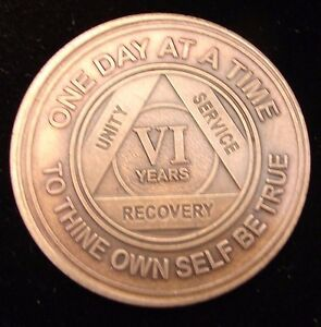 Alcoholics Anonymous AA 6 Year Bronze Medallion Token Coin Chip Sobrity Sober