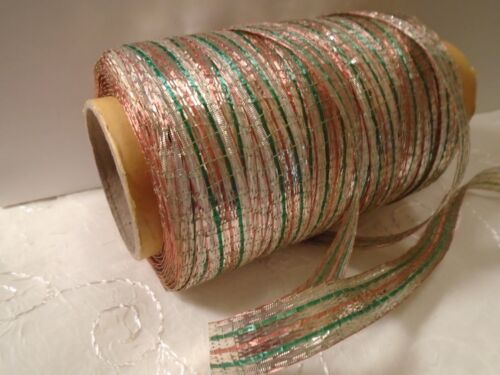 """Vintage French Woven Metallic Tinsel Ribbon 1930/'s Green//Copper//Silver 3//8/"""" BTY"""