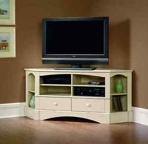 White Corner Tv Stand Entertainment Center Cabinet Media Credenza 60