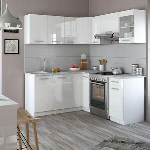 Details zu Vicco Küche Rick Küchenzeile Küchenblock Einbauküche 167x187cm  Weiß Hochglanz