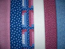 12 FQs Flowers Blue Pink White Cotton Quilt Fabric Fat Quarters