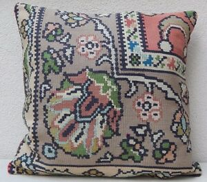 24x24 Vintage Handmade Floral Kilim Pillow Cover Extra Large
