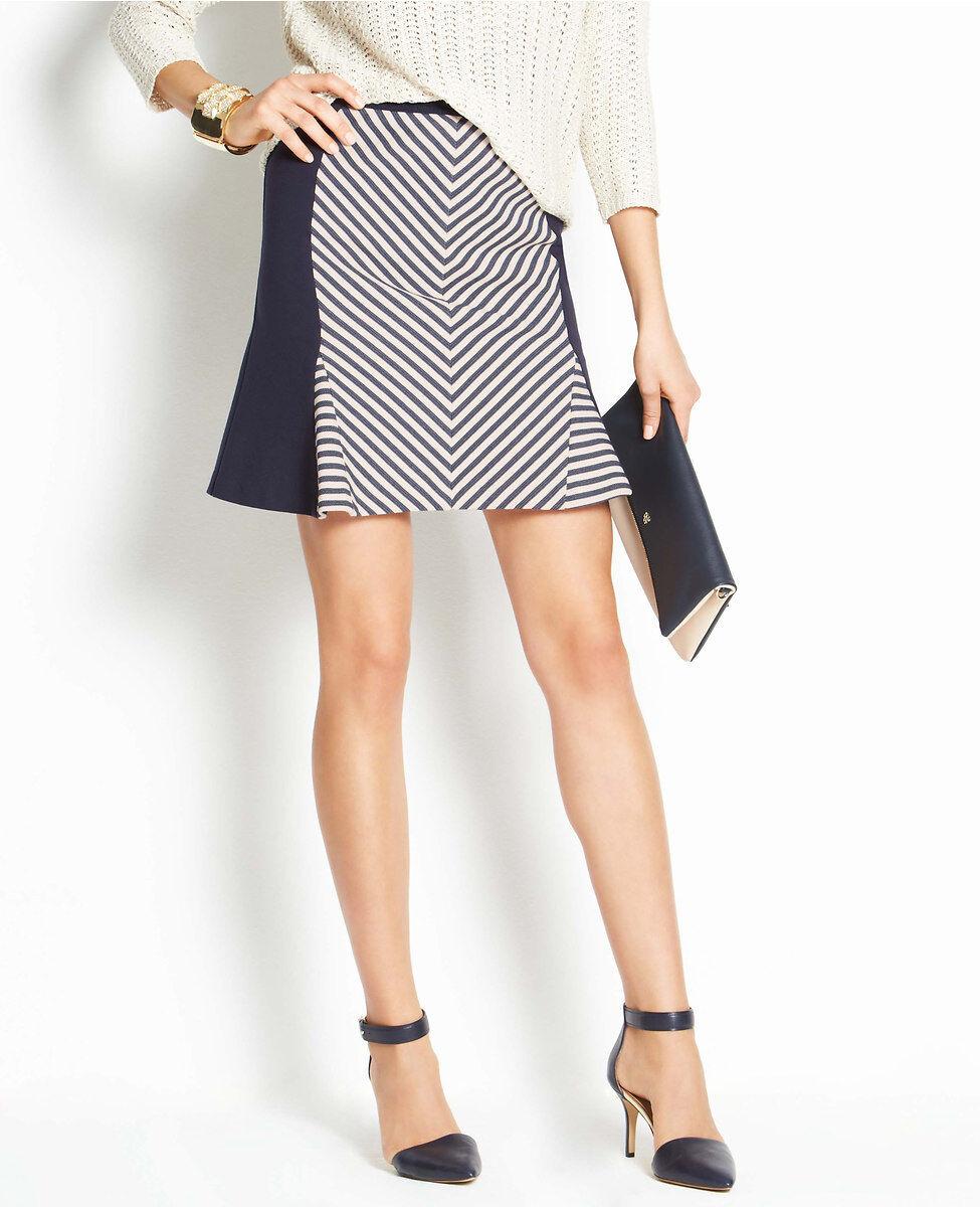 Ann Taylor Club Stripe Skirt Size 16 NWT Desert Sky color