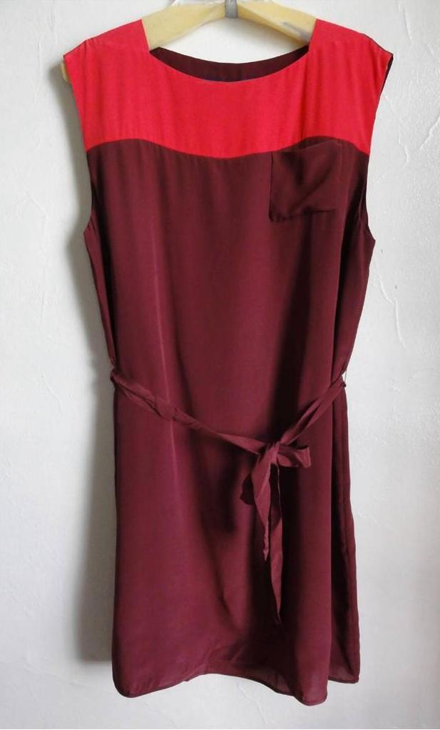 FRENCH CONNECTION T-Sarah Couleur block Robe en soie, Rose SPCE, taille 4,12, Fabricants Standard prix de détail  178