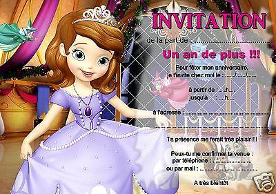 5 ou 12 cartes invitation anniversaire Princesse  réf 316