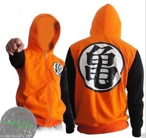 8ffef7ef Dragon Ball Z Goku Kame Symbol Black Orange Zip-Up Adult Hoodie | eBay