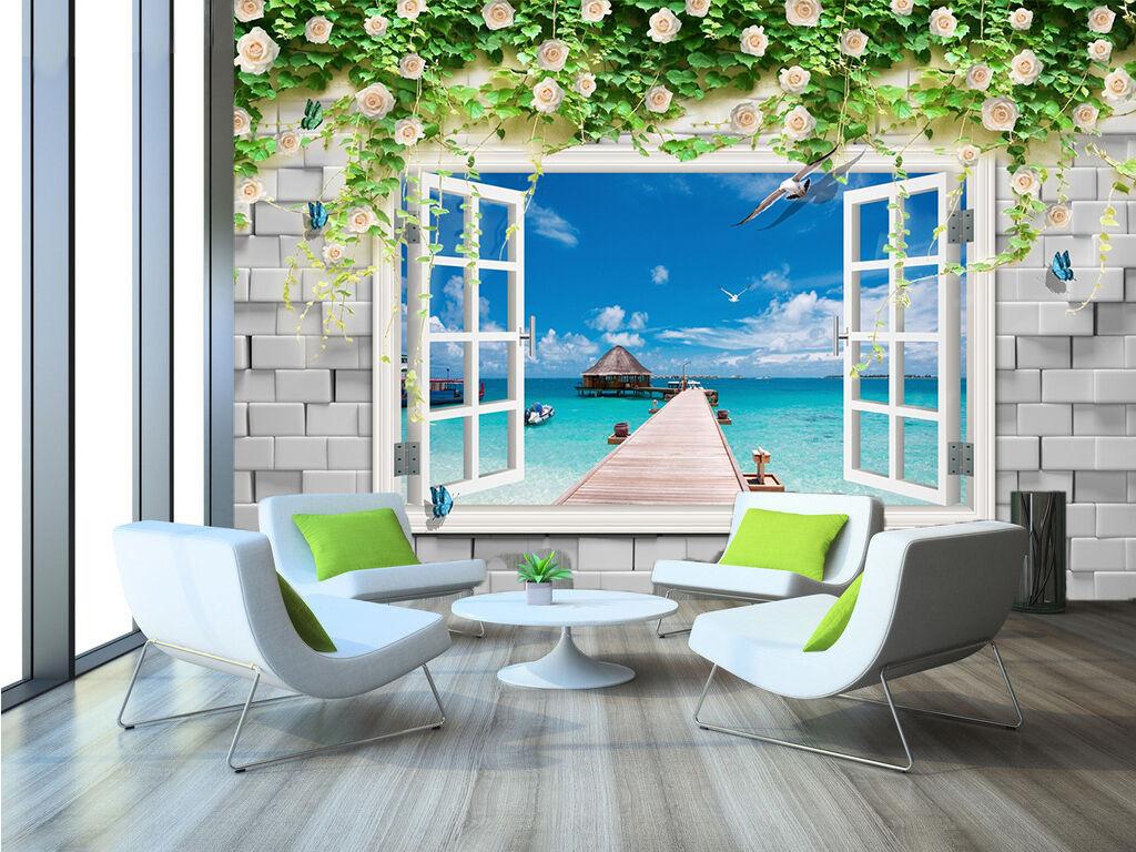 3D Seagulls ocean Wall Paper wall Print Decal Wall Deco Indoor wall Mural
