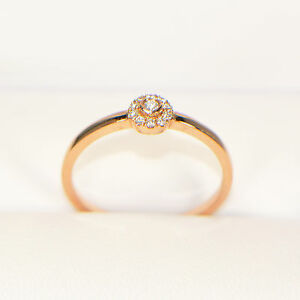 Diamantring-0-08-ct-in-750er-Rosegold-Ringgroesse-54-Verlobungsring-Pave-Brillant