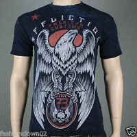 Affliction AC REGAL A7946 REVERSIBLE  Men's T-shirt  Black/Cobalt Blue Lava Tint