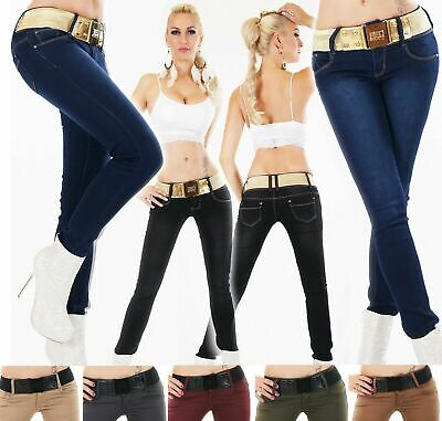 Women/'s Pants Jeans Frilled Belt Slim Butt Lift High Waisted Stretch Trousers US