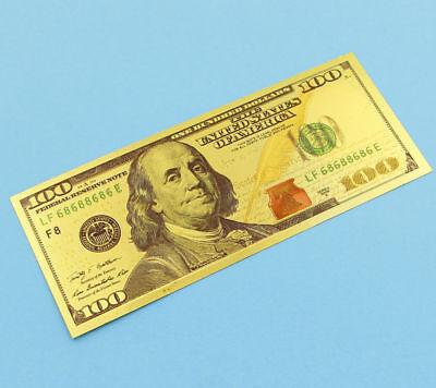 10pcs 24K Dollar Paper Money Gold Foil US$100 Currency Crafts Bill Training