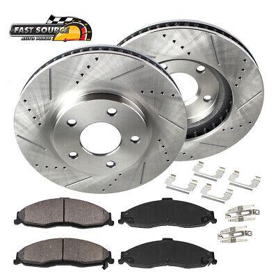 Fit 2009-2010 Cadillac STS Front Sport Drill Slot Brake Rotors+Ceramic Brake Pad