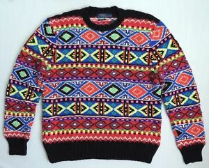 3a42bf5b4c  795 Polo Ralph Lauren Indian Navajo Hand Knit Neon Fair Isle Wool ...