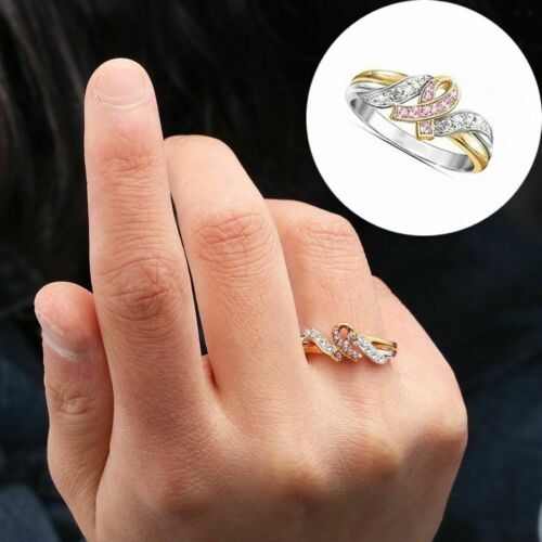 Plated Breast Cancer Awareness Two-Tone Pink Ribbon Ring Crystal Rhinestone