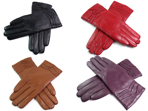 Super Soft Genuine Real Leather Ladies Fleece Lined Premium Leather Gloves