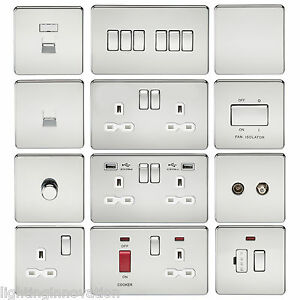 SCREWLESS-FLAT-PLATE-LIGHT-SWITCHES-amp-PLUG-SOCKETS-POLISHED-CHROME-WHITE-INSERT
